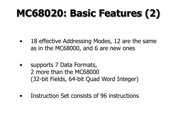 MC68020: Basic Features (2)