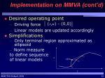 implementation on mmva cont d