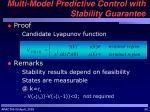 multi model predictive control with stability guarantee1