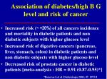 association of diabetes high b g level and risk of cancer