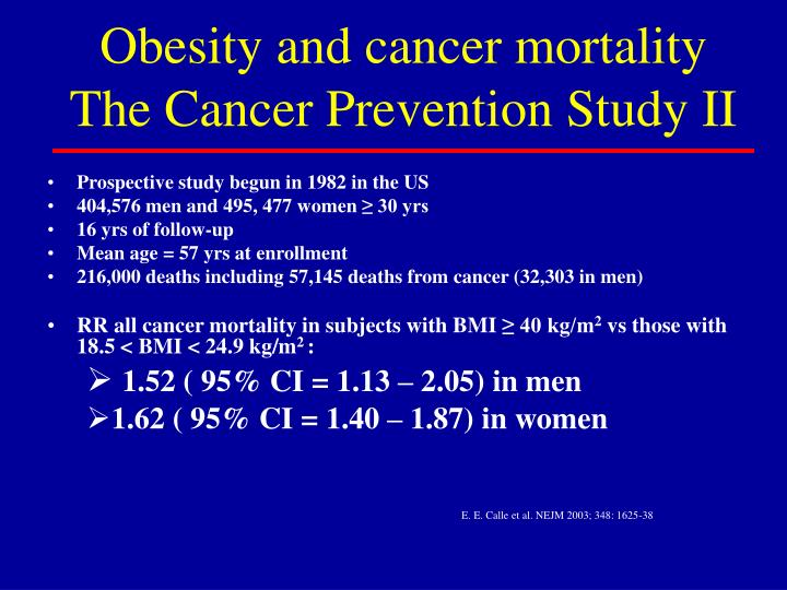 Obesity and cancer mortality The Cancer Prevention Study II
