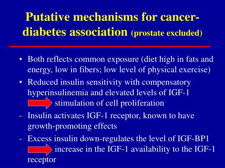 Putative mechanisms for cancer- diabetes association