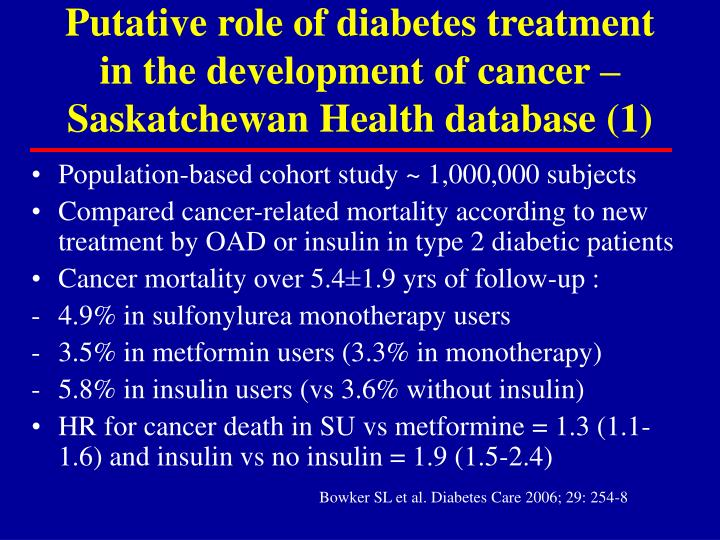 Putative role of diabetes treatment in the development of cancer – Saskatchewan Health database