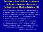 putative role of diabetes treatment in the development of cancer saskatchewan health database 1