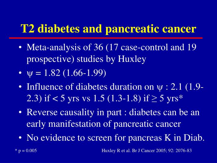 T2 diabetes and pancreatic cancer