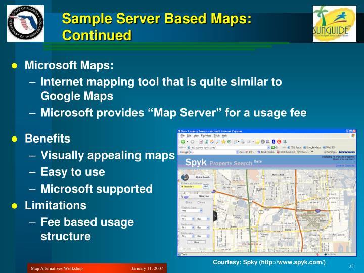 Sample Server Based Maps: