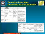 workstation based maps functionality and cost summaries