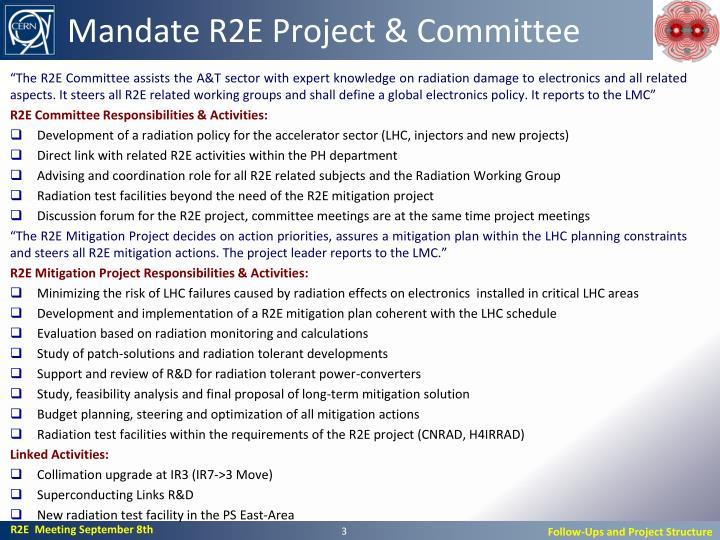 Mandate R2E Project &