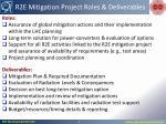 r2e mitigation project roles deliverables