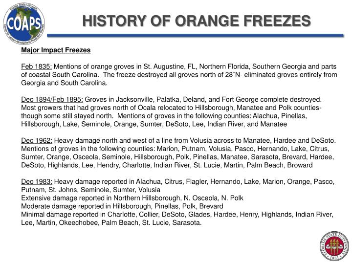 HISTORY OF ORANGE FREEZES