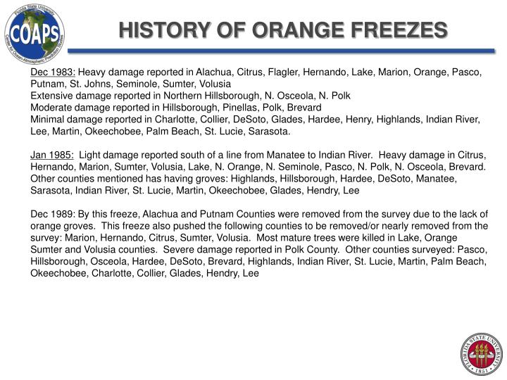 HISTORY OF ORANGE FREEZES