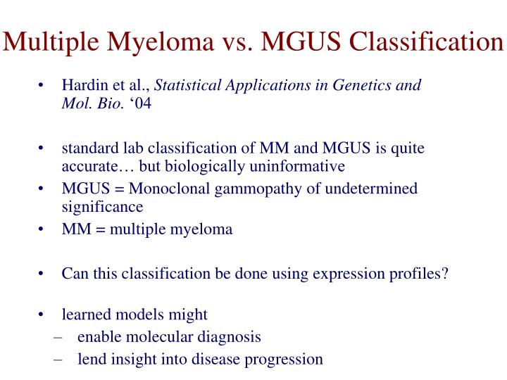 Multiple Myeloma vs. MGUS Classification