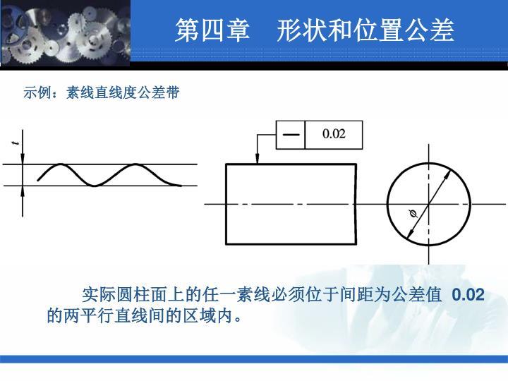 示例:素线直线度公差带