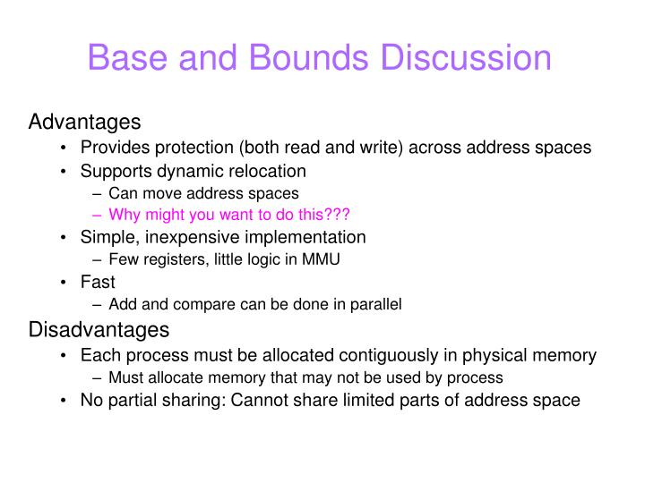 Base and Bounds Discussion