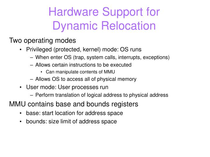 Hardware Support for