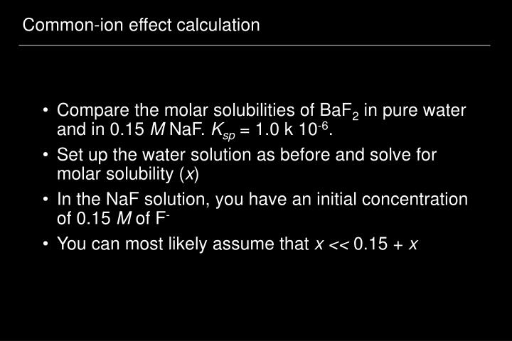 Common-ion effect calculation