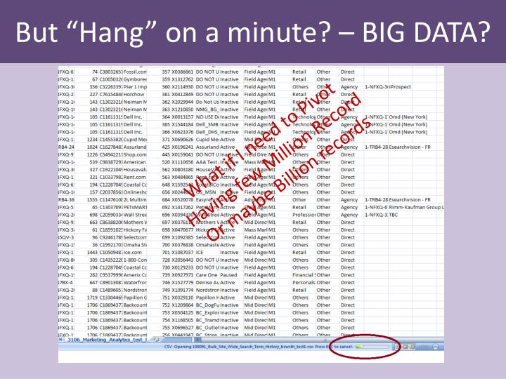 "But ""Hang"" on a minute? – BIG DATA?"