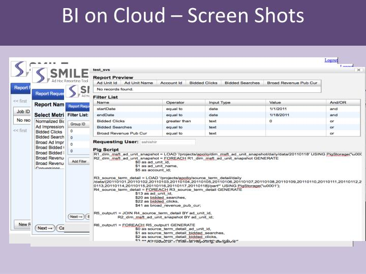 BI on Cloud – Screen Shots
