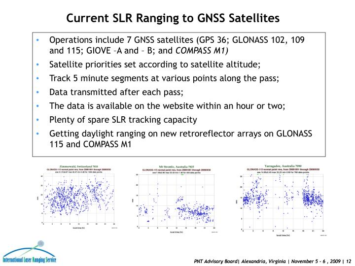 Operations include 7 GNSS satellites (GPS 36; GLONASS 102, 109 and 115; GIOVE –A and – B; and