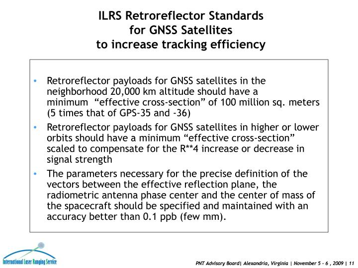 """Retroreflector payloads for GNSS satellites in the neighborhood 20,000 km altitude should have a minimum """"effective cross-section"""" of 100 million sq. meters (5 times that of GPS-35 and -36)"""