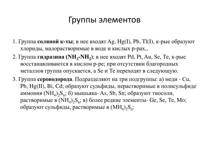 Группы элементов