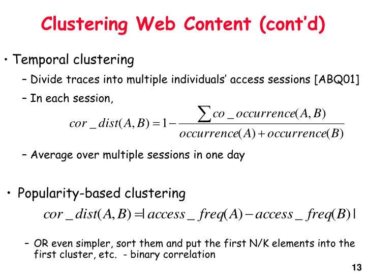 Clustering Web Content (cont'd)