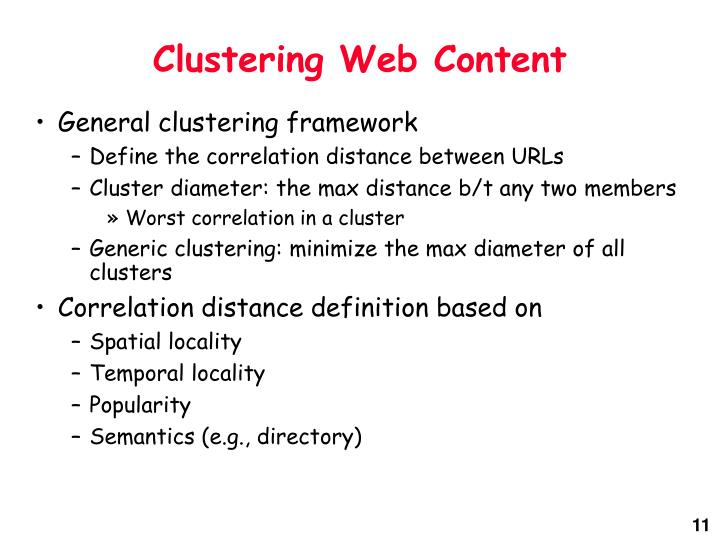 Clustering Web Content