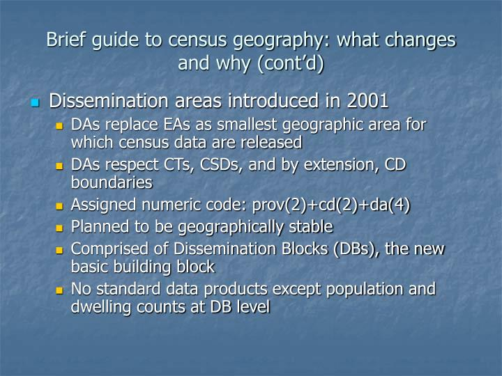 Brief guide to census geography: what changes and why (cont'd)