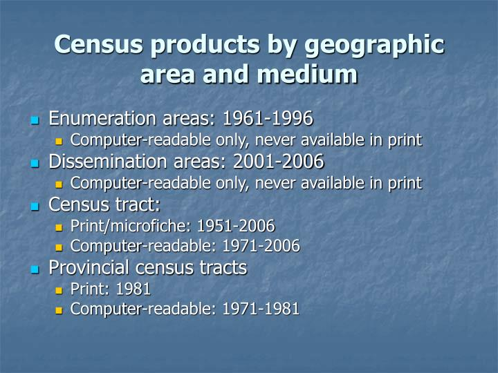 Census products by geographic area and medium