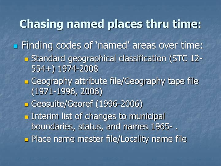 Chasing named places thru time:
