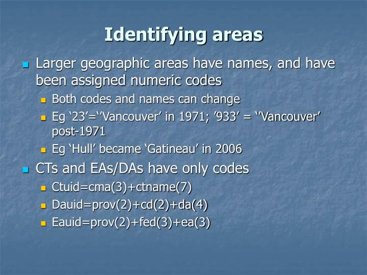 Identifying areas