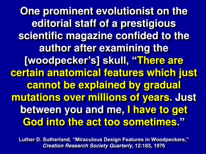 One prominent evolutionist on the editorial staff of a prestigious scientific magazine confided to the author after examining the [woodpecker's] skull, ""