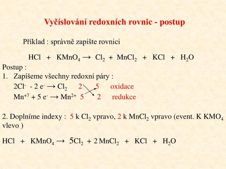 Vyčíslování redoxních rovnic - postup