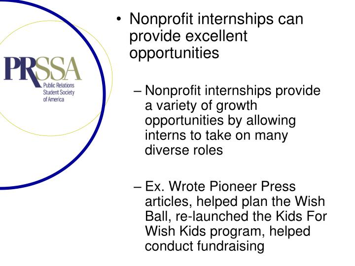 Nonprofit internships can provide excellent opportunities