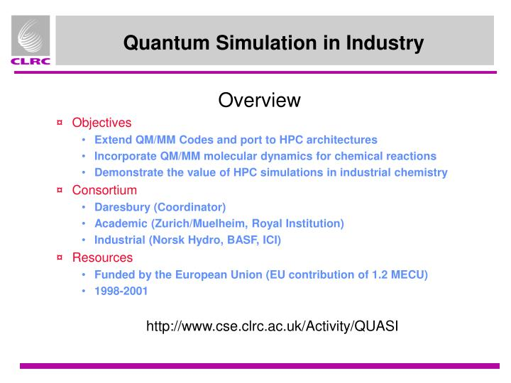 Quantum Simulation in Industry
