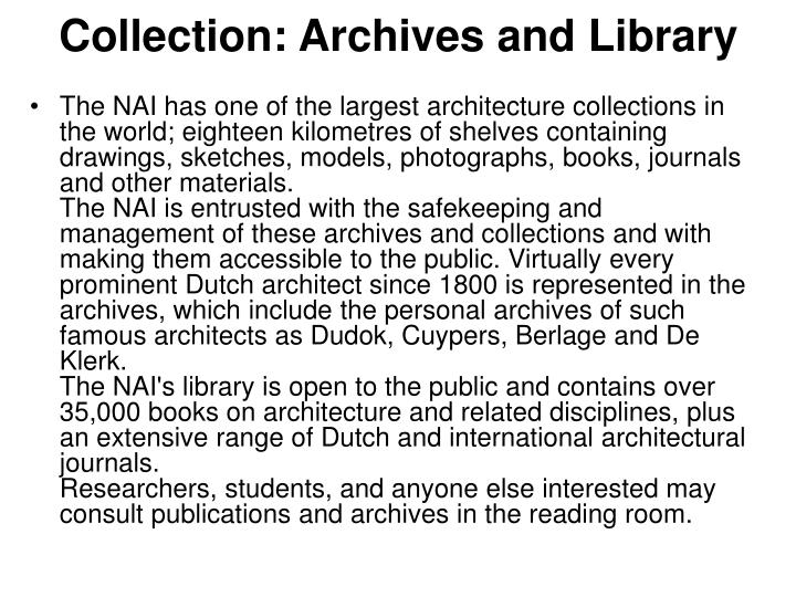 Collection: Archives and Library