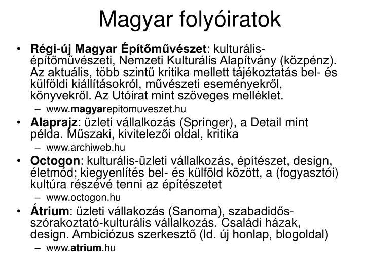 Magyar folyóiratok