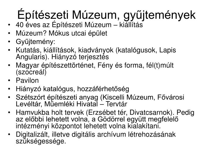 Építészeti Múzeum, gyűjtemények