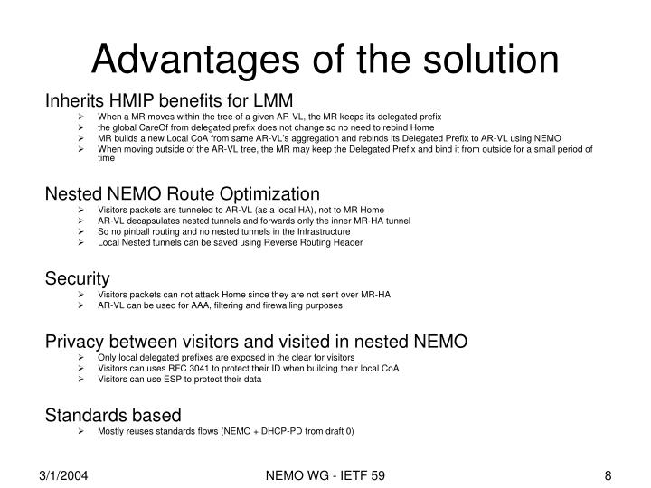 Advantages of the solution