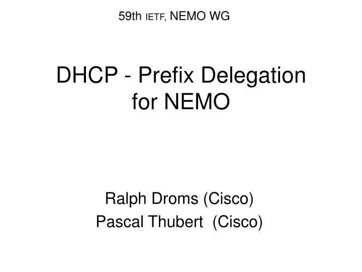 dhcp prefix delegation for nemo
