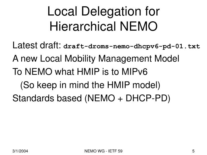 Local Delegation for Hierarchical NEMO