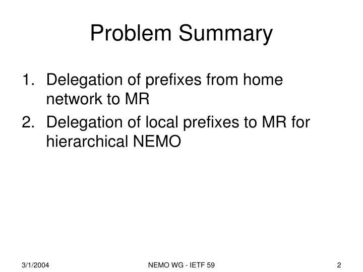 Problem Summary
