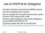 use of dhcpv6 for delegation