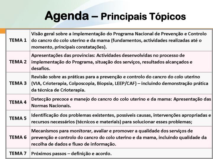 Agenda –