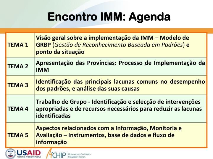 Encontro IMM: Agenda