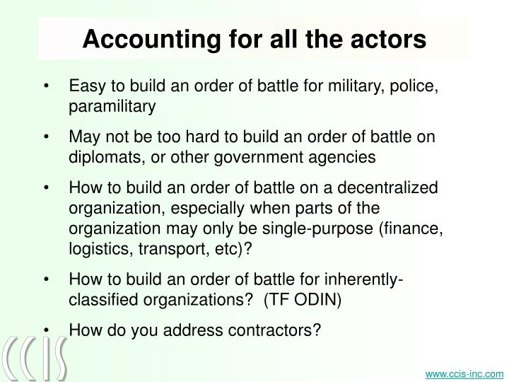 Accounting for all the actors