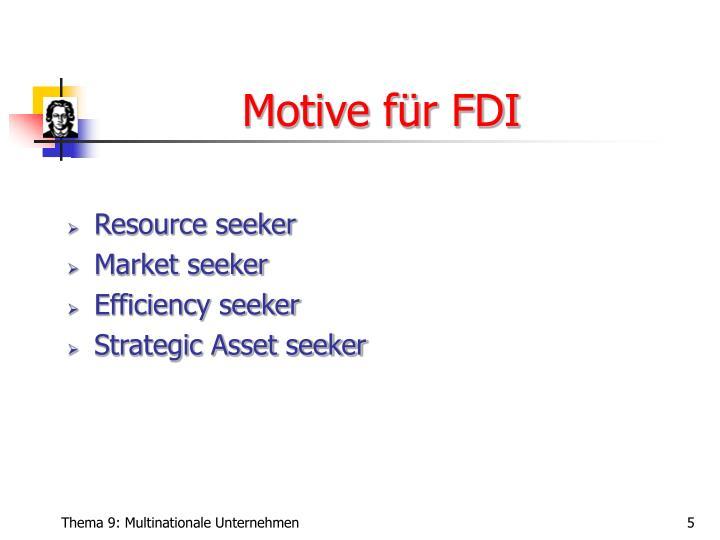 Motive für FDI