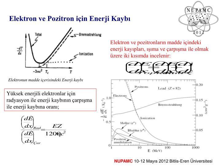 Elektron ve Pozitron için Enerji Kaybı