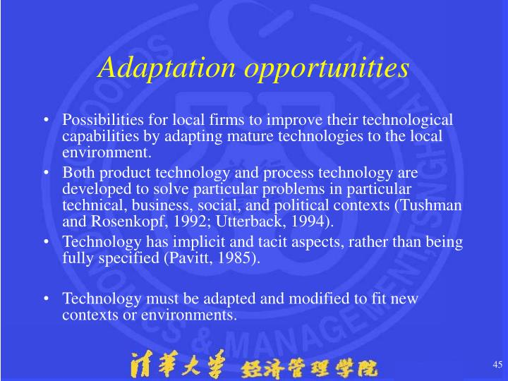 Adaptation opportunities