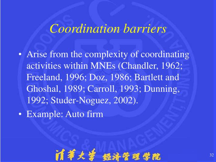 Coordination barriers